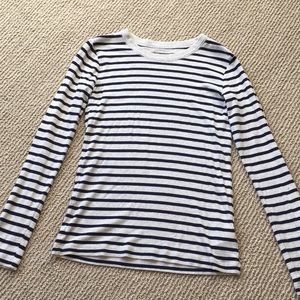 Gray long sleeve with navy stripes